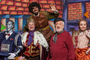 CBeebies Panto: Jack And The Beanstalk. Image shows from L to R: Robert the Robot (Steven Kynman), King Justin the Messy (Justin Fletcher), The Giant (Andy Day), The Narrator (Bernard Cribbins), Jill (Cerrie Burnell). Copyright: BBC.