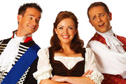 CBeebies Panto: Strictly Cinderella. Image shows from L to R: Prince Charming (Alex Winters), Cinderella (Katrina Bryan), Baron Hardup (Chris Jarvis). Copyright: BBC.