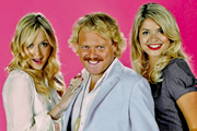 Celebrity Juice. Image shows from L to R: Fearne Cotton, Keith Lemon, Holly Willoughby. Image credit: Talkback.