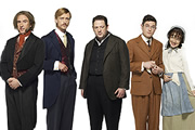 Chekhov: Comedy Shorts. Image shows from L to R: Nyukhin (Steve Coogan), Murashkin (Mackenzie Crook), Tolkachov (Johnny Vegas), Lomov (Mathew Horne), Natasha (Sheridan Smith). Copyright: Baby Cow Productions.