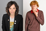 Image shows from L to R: Bridget Christie, James Acaster.