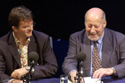 Clement Freud On Just A Minute: A Celebration. Image shows from L to R: Paul Merton, Clement Freud. Copyright: BBC.