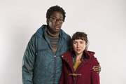 Cockroaches. Image shows from L to R: Tom (Daniel Lawrence Taylor), Suze (Esther Smith). Copyright: Big Talk Productions.