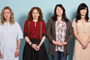 Coma Girl. Image shows from L to R: Lucy (Anna Crilly), Pip (Katherine Parkinson), Sarah (Katy Wix), Siobhan (Sarah Solemani). Image credit: Hartswood Films Ltd.