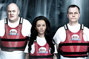 Through Hell and High Water. Image shows from L to R: Dara O Briain, Chelsee Healey, Jack Dee.