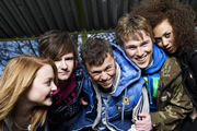 Coming Of Age. Image shows from L to R: Chloe (Anabel Barnston), Matt (Tony Bignell), DK (Joe Tracini), Ollie (Ceri Phillips), Jas (Hannah Job). Image credit: British Broadcasting Corporation.