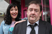 Common Ground. Image shows from L to R: Jill (Celia Paquola), Rupert (Johnny Vegas). Image credit: Baby Cow Productions.