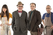 Count Arthur Strong. Image shows from L to R: Sinem (Zahra Ahmadi), Count Arthur Strong (Steve Delaney), Michael Baker (Rory Kinnear), Bulent (Chris Ryman). Image credit: Retort.