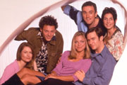 Coupling. Image shows from L to R: Sally (Kate Isitt), Oliver (Richard Mylan), Susan (Sarah Alexander), Patrick (Ben Miles), Steve (Jack Davenport), Jane (Gina Bellman). Image credit: Hartswood Films Ltd.