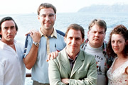 Cruise Of The Gods. Image shows from L to R: Nick Lee (Steve Coogan), Jeff Monks (David Walliams), Andy van Allen (Rob Brydon), Russell (James Corden), Jenny (Helen Coker). Copyright: Baby Cow Productions.