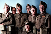 Dad's Army. Image shows from L to R: Pte. Walker (James Beck), Pte. Frazer (John Laurie), Sgt. Wilson (John Le Mesurier), Capt. Mainwaring (Arthur Lowe), Pte. Pike (Ian Lavender), Pte. Godfrey (Arnold Ridley), L/Cpl. Jones (Clive Dunn).