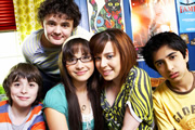 Dani's House. Image shows from L to R: Max (Sebastian Applewhite), Toby (Harry Culverhouse), Sam (Klariza Clayton), Dani (Dani Harmer), Ben (James Gandhi). Copyright: The Foundation / BBC.