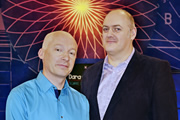 Dara O Briain: School Of Hard Sums. Image shows from L to R: Marcus du Sautoy, Dara O Briain. Copyright: Fujisankei Productions / Wild Rover.