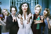Dead Boss. Image shows from L to R: Mary (Amanda Lawrence), Henry (Edward Hogg), Helen Stephens (Sharon Horgan), Governor Margaret (Jennifer Saunders), Christine (Bryony Hannah). Copyright: BBC.
