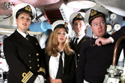 Deep Trouble. Image shows from L to R: Commander Alison Fairbanks (Katherine Jakeways), Petty Officer Lucy Radcliffe (Miranda Raison), Lieutenant Jack Trainor (Ben Willbond), Captain Paul Wade (Jim Field Smith). Image credit: Pozzitive Productions.