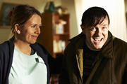 Derek. Image shows from L to R: Hannah (Kerry Godliman), Derek (Ricky Gervais). Image credit: Derek Productions.