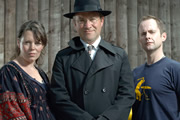 Dirk Gently's Holistic Detective Agency. Image shows from L to R: Janice Pearce (Olivia Colman), Dirk Gently (Harry Enfield), Richard MacDuff (Billy Boyd). Copyright: Above The Title Productions.