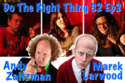 Do The Right Thing - Series 2, Episode 2. Image shows from L to R: Michael Legge, Andy Zaltzman, Danielle Ward, Marek Larwood, Margaret Cabourn-Smith.