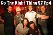 Do The Right Thing - Series 2, Episode 4. Image shows from L to R: Michael Legge, Jenny Eclair, Danielle Ward, John Finnemore, Margaret Cabourn-Smith, Stevyn Colgan.