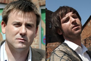 Dog Dazed Afternoon. Image shows from L to R: Mickey (Graeme Hawley), Liam (Carl Rice). Copyright: BBC.