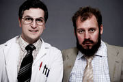 Double Science. Image shows from L to R: Colin Jackson (Ben Willbond), Kenneth Farley-Pitman (Justin Edwards). Image credit: British Broadcasting Corporation.