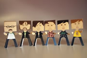 Edinburgh Comedy Awards 2011 nominees - as paper people. Image shows from L to R: Sam Simmons, Nick Helm, Andrew Maxwell, Adam Riches, Josie Long, Chris Ramsey.