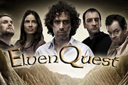 ElvenQuest. Image shows from L to R: Vidar (Darren Boyd), Penthiselea (Sophie Winkleman), Sam (Stephen Mangan), Lord Darkness (Alistair McGowan), Dean (Kevin Eldon). Image credit: British Broadcasting Corporation.