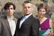Episodes. Image shows from L to R: Sean Lincoln (Stephen Mangan), Matt (Matt LeBlanc), Beverly Lincoln (Tamsin Greig). Image credit: Hat Trick Productions.