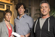 Episodes. Image shows from L to R: Beverly Lincoln (Tamsin Greig), Sean Lincoln (Stephen Mangan), Matt LeBlanc (Matt LeBlanc). Copyright: Hat Trick Productions / BBC.