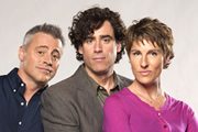 Episodes. Image shows from L to R: Matt LeBlanc (Matt LeBlanc), Sean Lincoln (Stephen Mangan), Beverly Lincoln (Tamsin Greig). Copyright: Hat Trick Productions / BBC.