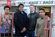 Fags, Mags And Bags. Image shows from L to R: Sanjay (Omar Raza), Ramesh (Sanjeev Kohli), Dave (Donald Mcleary), Alok (Susheel Kumar). Copyright: The Comedy Unit.