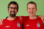 Fantasy Football. Image shows from L to R: David Baddiel, Frank Skinner. Copyright: Avalon Television.
