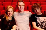 Father Figure. Image shows from L to R: Elaine Whyte (Lucy Montgomery), Tom Whyte (Jason Byrne), Dylan Whyte (Dominic Applewhite). Copyright: BBC.