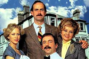 Fawlty Towers. Image shows from L to R: Polly (Connie Booth), Basil Fawlty (John Cleese), Manuel (Andrew Sachs), Sybil Fawlty (Prunella Scales). Image credit: British Broadcasting Corporation.