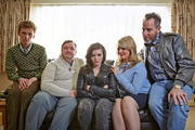 Fishbowl. Image shows from L to R: Vincent (Edward Ashley), Phil (Mark Benton), Hattie (Katherine Rose Morley), Ramona (Sally Lindsay), Les (Michael Smiley). Copyright: Bwark Productions.