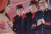 Follow That Camel. Image shows from L to R: Unknown, Simpson (Peter Butterworth), Bertram 'Bo' Oliphant West (Jim Dale), Sergeant Ernie Nocker (Phil Silvers). Copyright: Peter Rogers Productions.