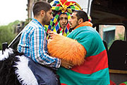 Four Lions. Image shows from L to R: Waj (Kayvan Novak), Hassan (Arsher Ali), Omar (Riz Ahmed). Copyright: Warp Films.