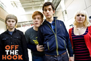 Off The Hook. Image shows from L to R: Fred (James Buckley), Shane (Danny Morgan), Danny (Jonathan Bailey), Scarlet (Joanna Cassidy). Copyright: Green Room Entertainment.