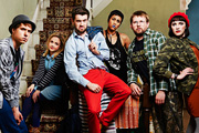 Fresh Meat. Image shows from L to R: Kingsley (Joe Thomas), Josie (Kimberley Nixon), JP (Jack Whitehall), Vod (Zawe Ashton), Howard (Greg McHugh), Oregon (Charlotte Ritchie). Image credit: Objective Productions.