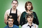 Friday Night Dinner. Image shows from L to R: Adam (Simon Bird), Martin (Paul Ritter), Jackie (Tamsin Greig), Jonny (Tom Rosenthal). Image credit: Popper Pictures.