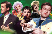 Friday Night Live. Image shows from L to R: Hugh Laurie, Dame Edna Everage (Barry Humphries), Jo Brand, Julian Clary, Harry Enfield. Copyright: London Weekend Television / Channel 4 Television Corporation.