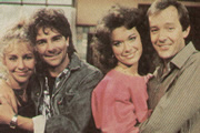 Full House. Image shows from L to R: Diana (Natalie Forbes), Murray McCoy (Brian Capron), Marsha Hatfield (Sabina Franklyn), Paul Hatfield (Christopher Strauli). Copyright: Thames Television.
