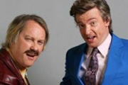 The Fun Police. Image shows from L to R: Richard (Vic Reeves), Leslie (Rhys Darby). Copyright: Roughcut Television.