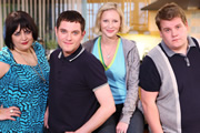 Gavin & Stacey. Image shows from L to R: Nessa (Ruth Jones), Gavin (Mathew Horne), Stacey (Joanna Page), Smithy (James Corden). Image credit: Baby Cow Productions.