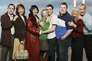 Gavin & Stacey. Image shows from L to R: Bryn (Rob Brydon), Gwen (Melanie Walters), Nessa (Ruth Jones), Stacey (Joanna Page), Gavin (Mathew Horne), Smithy (James Corden), Pam (Alison Steadman), Mick (Larry Lamb). Copyright: Baby Cow Productions.