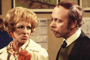 George & Mildred. Image shows from L to R: Mildred Roper (Yootha Joyce), George Roper (Brian Murphy). Image credit: Thames Television.