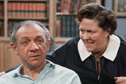 George And The Dragon. Image shows from L to R: George Russell (Sid James), Gabrielle Dragon (Peggy Mount). Image credit: Associated Television.