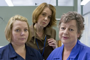 Getting On. Image shows from L to R: Sister Den Flixter (Joanna Scanlan), Doctor Pippa Moore (Vicki Pepperdine), Nurse Kim Wilde (Jo Brand). Copyright: Vera Productions.
