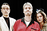 Good Arrows. Image shows from L to R: Sebastian (Joe McKinney), Andy 'The Arrows' Samson (Jonathan Owen), Big Sheila (Katy Brand). Copyright: Jawbone.
