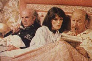 Good Night And God Bless. Image shows from L to R: Ronnie Kemp (Donald Churchill), Celia (Judy Loe), Geoffrey (James Cossins). Image credit: Central Independent Television.